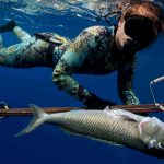 Aprendiendo A Pescar Bajo El Agua Con Una Lanza De Poste Para Bucear